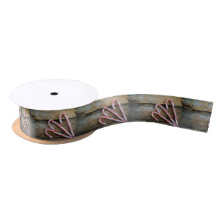 Rustic Wood with Christmas Candy Canes Satin Ribbon