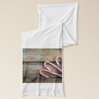 Rustic Wood with Christmas Candy Canes Scarf