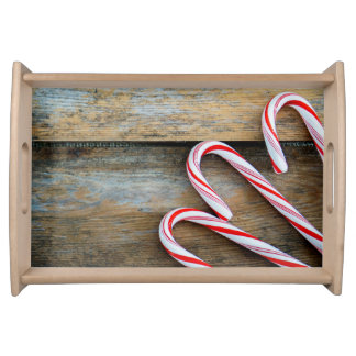 Rustic Wood with Christmas Candy Canes Serving Tray