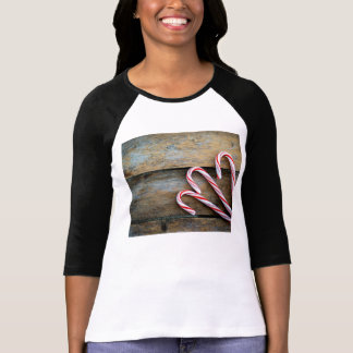 Rustic Wood with Christmas Candy Canes T-Shirt