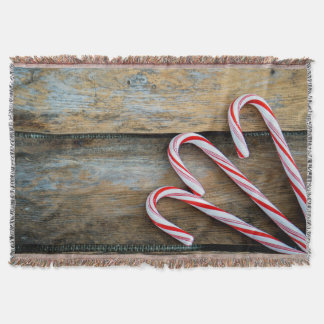 Rustic Wood with Christmas Candy Canes Throw Blanket