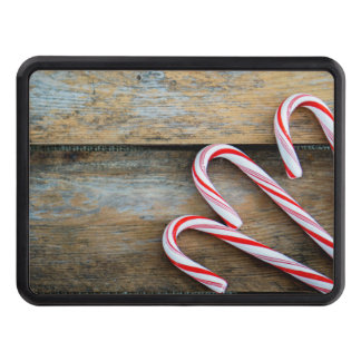 Rustic Wood with Christmas Candy Canes Trailer Hitch Cover