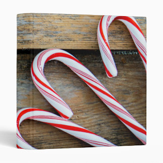 Rustic Wood with Christmas Candy Canes Vinyl Binder