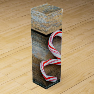 Rustic Wood with Christmas Candy Canes Wine Gift Box