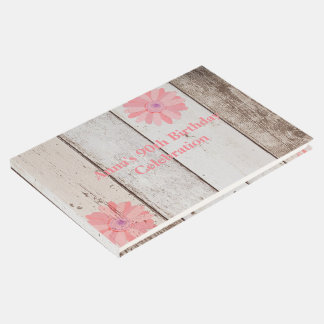 Rustic Wood With Pink Flower Custom Event Guest Book