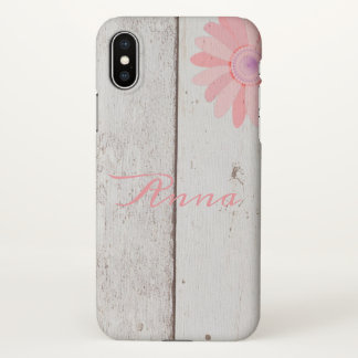 Rustic Wood With Pink Flower Custom iPhone X Case