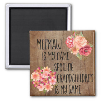 Rustic Wood with Pink Red Floral Meemaw Magnet