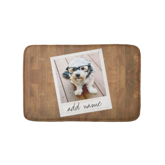 Rustic Wood with Square Photo Frame Bath Mat