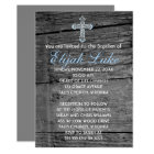 Rustic Wood with Vintage Cross Baptism Card