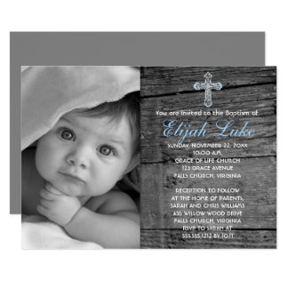 "Rustic Wood with Vintage Cross Photo Baptism 5"" X 7"" Invitation Card"