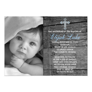 """Rustic Wood with Vintage Cross Photo Baptism 5"""" X 7"""" Invitation Card"""