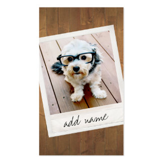Rustic Wood with vintage square photo frame Business Card