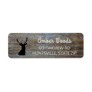 Rustic Wood | Woodland Buck Deer Return Address Label