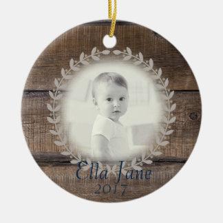 Rustic Wood Wreath Custom Photo Ornament