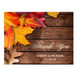 Rustic Wooden Autumn Maple Thanksgiving Thank You Postcard