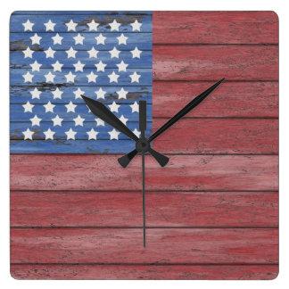 Rustic Wooden Barn Wall American Flag Patriotic Square Wall Clock