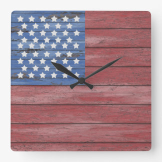 Rustic Wooden Barn Wall American Flag Patriotic Wallclock