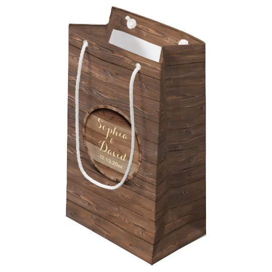 Rustic Wooden Barrel Wedding Custom Favour Bag