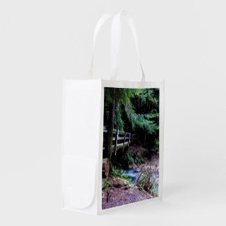 Rustic Wooden Bridge Olympic Park Reusable Grocery Bags
