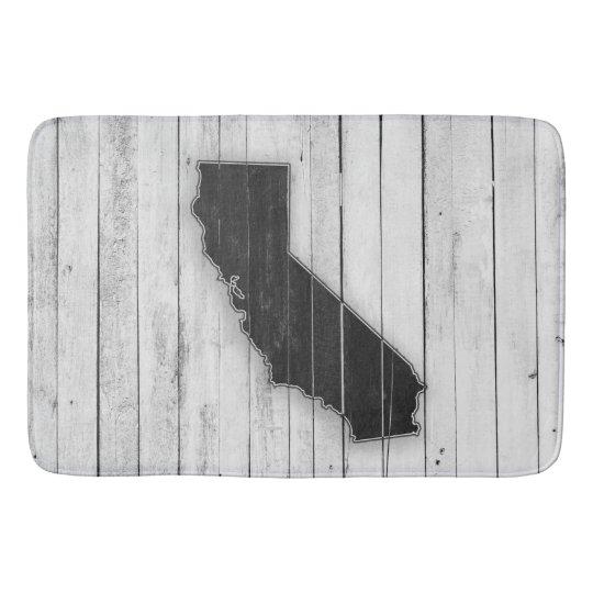 Rustic Wooden California Black and White Mat Bathroom Mat