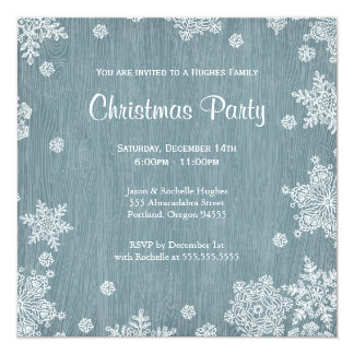 Rustic Wooden Christmas Invitation