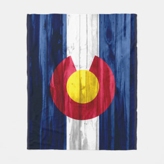Rustic wooden Colorado flag fleece blanket