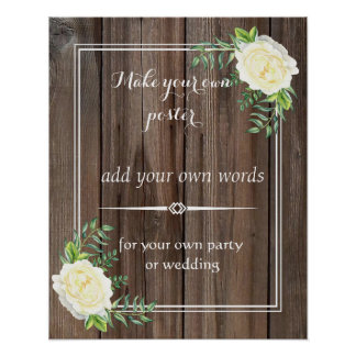 Rustic wooden Create your own poster print