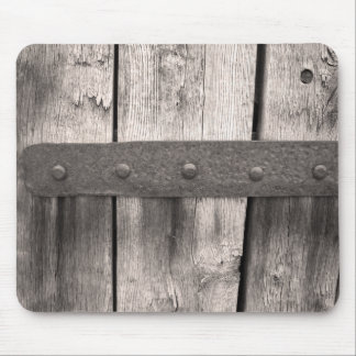 Rustic Wooden Door and Hinge Mouse Pad