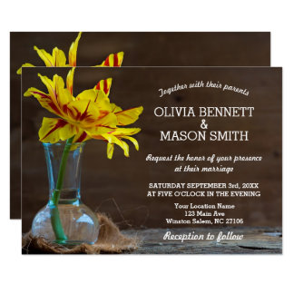 Rustic Wooden Flower Vase textured Wedding Card