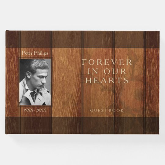 Rustic Wooden Frame Memorial Guest Book