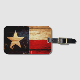 Rustic Wooden Grunge Texas State Flag Luggage Tag