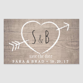 Rustic Wooden Heart Elegant Save the Date Stickers