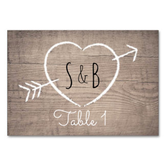 Rustic Wooden Heart Elegant Table Cards