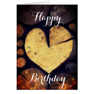 Rustic Wooden Heart Photography Happy Birthday Card