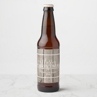 Rustic Wooden Holiday Beer Bottle Label