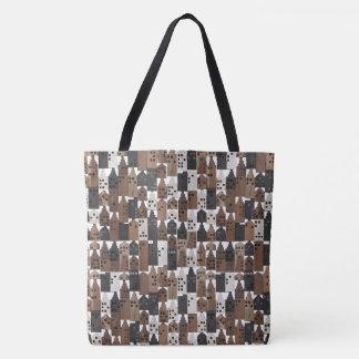 Rustic wooden houses design tote bag