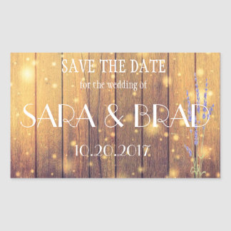 Rustic Wooden Light Lavender Save the Date Sticker