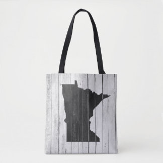 Rustic Wooden Minnesota Black and White Tote Bag