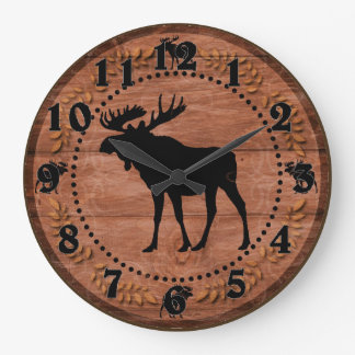 Rustic wooden moose circle wall clock