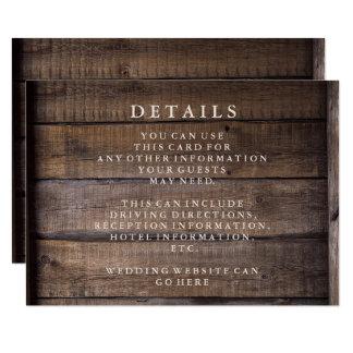 Rustic Wooden Pallet Wedding Details Card