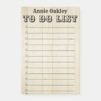 Rustic Wooden Personalized To Do List Post-It Note
