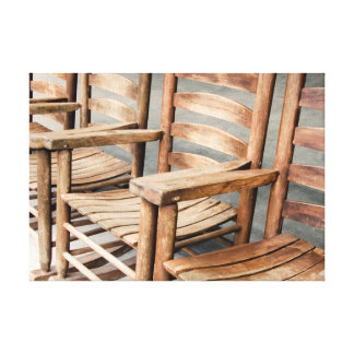 Rustic Wooden Rocking Chairs Canvas Print