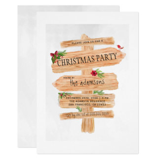 Rustic Wooden Signs | Festive Christmas Party Card