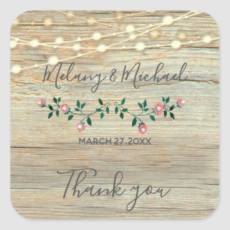 Rustic wooden string lights roses  Thank you Square Sticker
