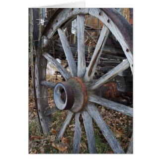 Rustic Wooden Wagon Wheel Card
