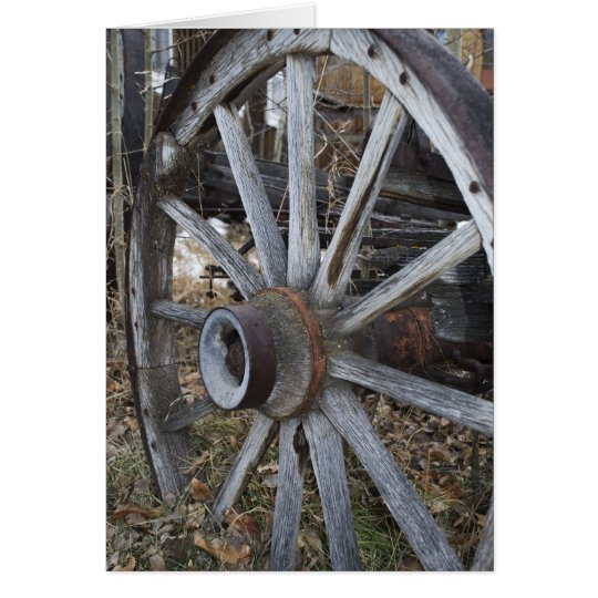 Rustic Wooden Wagon Wheel Card
