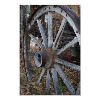 Rustic Wooden Wagon Wheel Poster