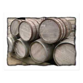 Rustic Wooden Whiskey Barrels Postcard