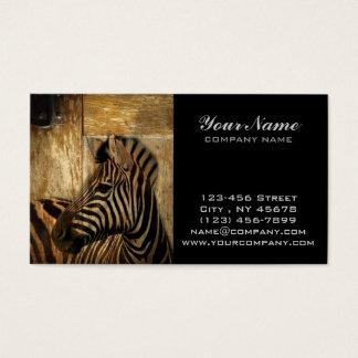 rustic woodgrain Africa safari animal  zebra Business Card