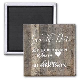 Rustic woodgrain barn wedding save the date magnet